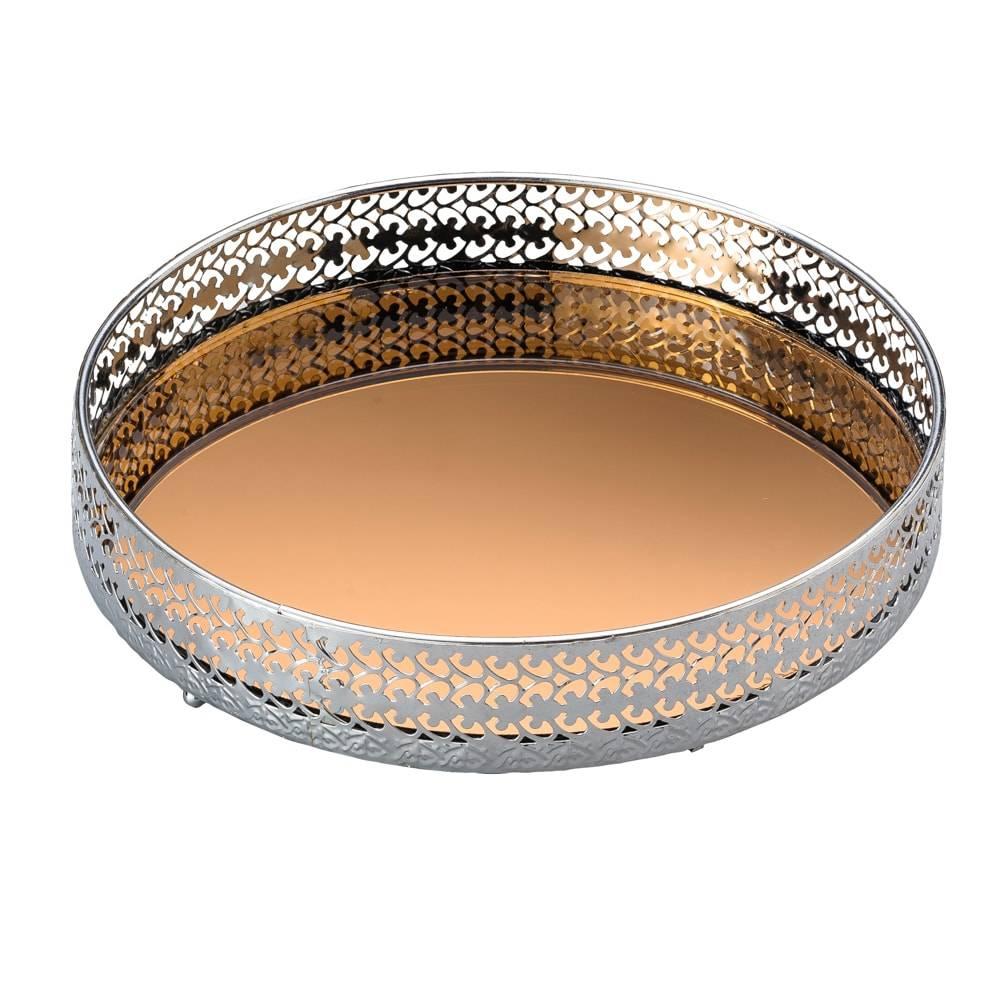Bandeja Sorelle Redonda c/ Fundo Espelhado Dourado e Borda Vazada em Metal - Lyor Classic - 21x4 cm