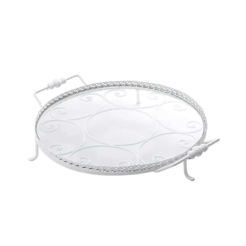 Bandeja Spiron Branca Média em Metal - Bon Gourmet - 30x5 cm