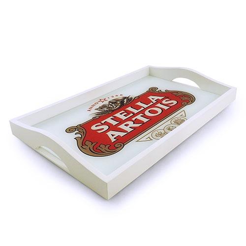 Bandeja Stella Artois Pequena em MDF e Fundo de Vidro - 32x20 cm
