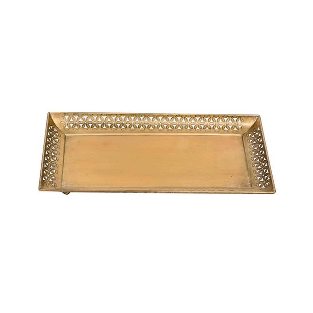 Bandeja Stick Dourada Grande em Metal - 39x23 cm