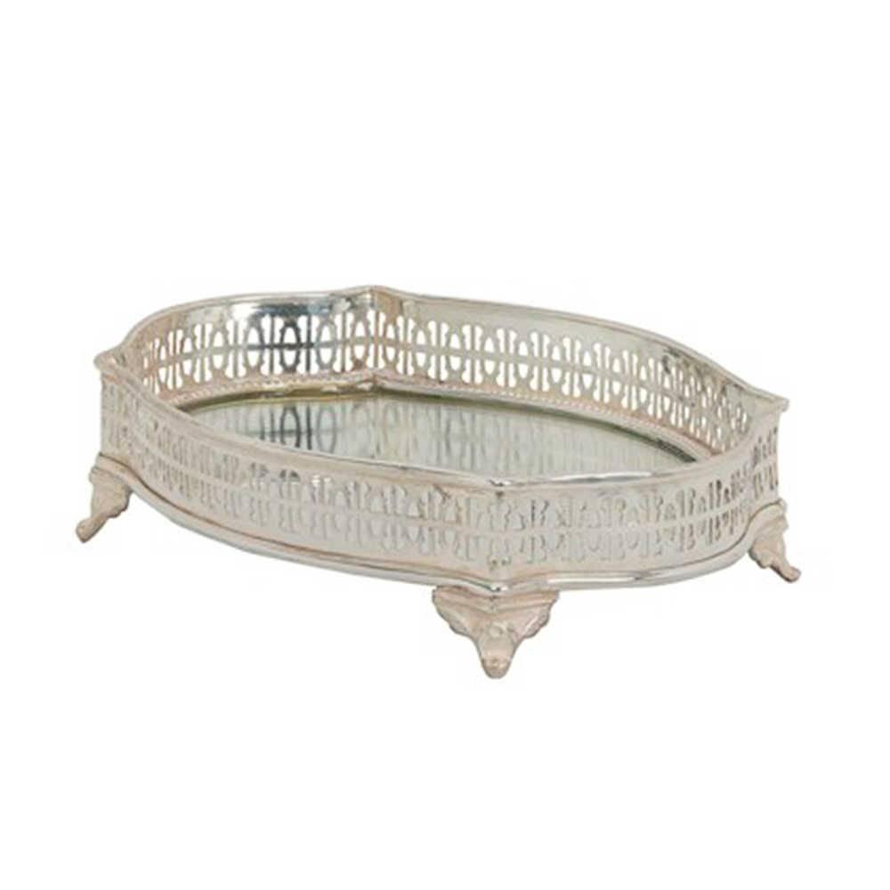 Bandeja Strass Pequena - com Pés e Fundo Espelhado - em Metal com Banho de Prata - 22x16 cm