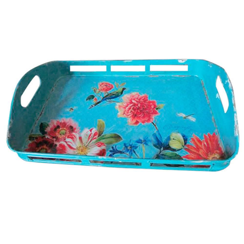 Bandeja Sweet Flowers Edges Azul em Metal - Urban - 41x27,5 cm