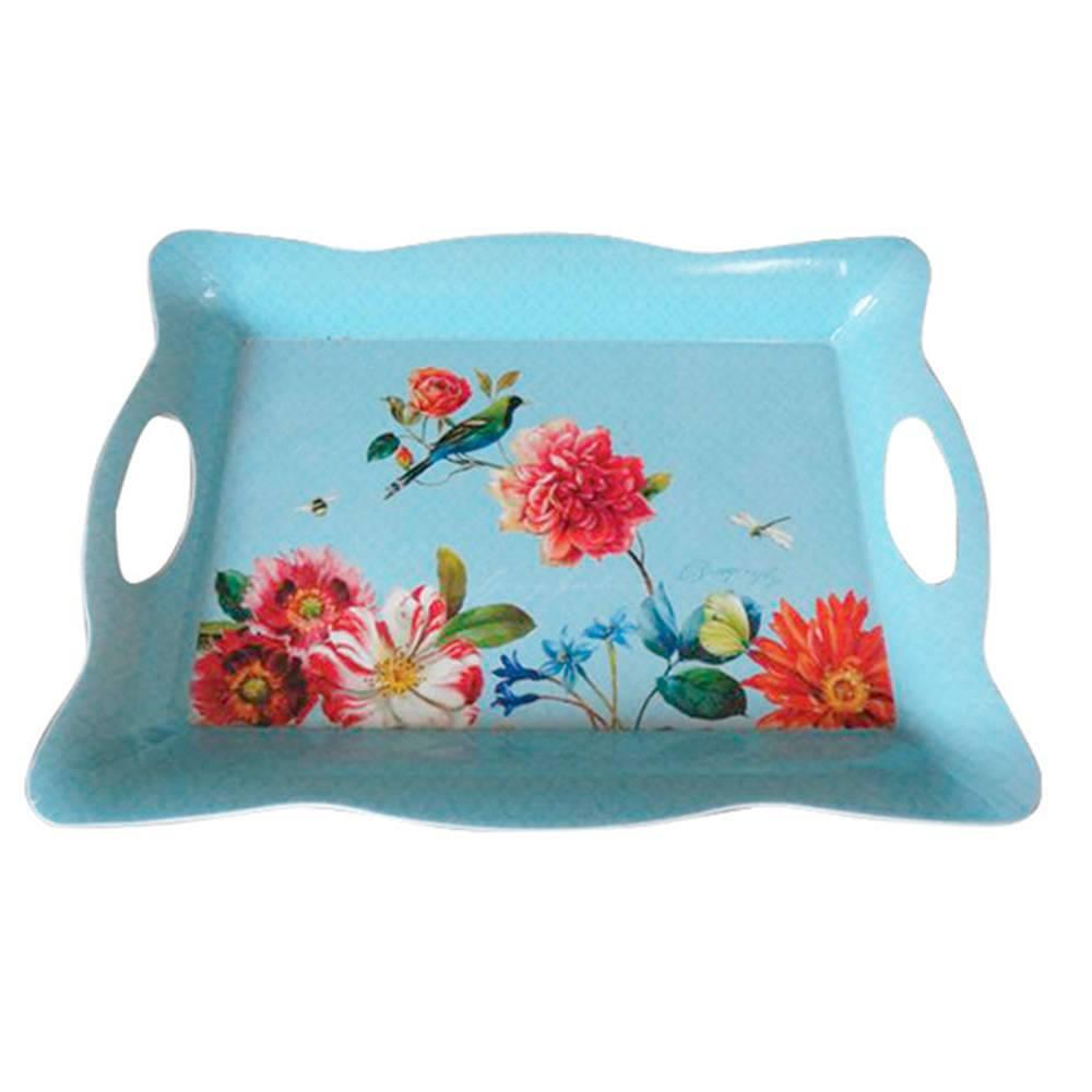 Bandeja Sweet Flowers Wave Edges Azul em Polipropileno - Urban - 39,5x27 cm