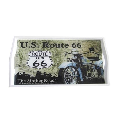 Bandeja US Route 66 Média em MDF e Fundo de Vidro - 38x24 cm