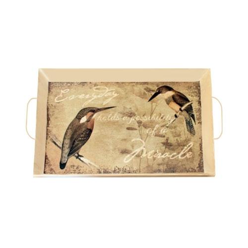 Bandeja Vintage Birds em Metal - 45x30 cm