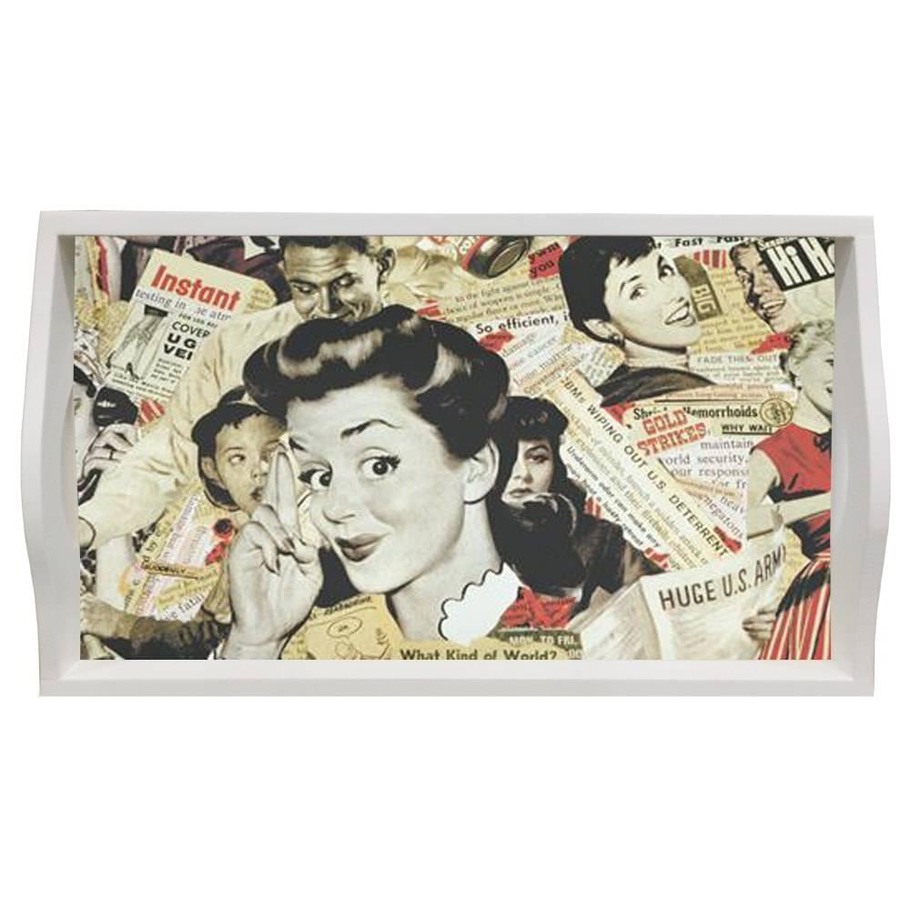 Bandeja Vintage Girl Média em MDF e Fundo de Vidro - 38x24 cm