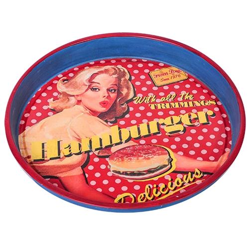 Bandeja Vintage Round em Metal - 34x34 cm