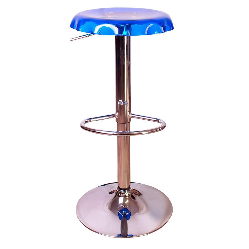 Banqueta Caipirinha Azul em ABS com Regulagem de Altura - 80x36 cm