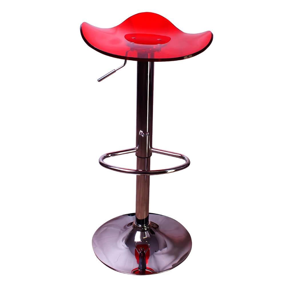 Banqueta Crystal Vermelho em ABS com Regulagem de Altura - 80x40 cm