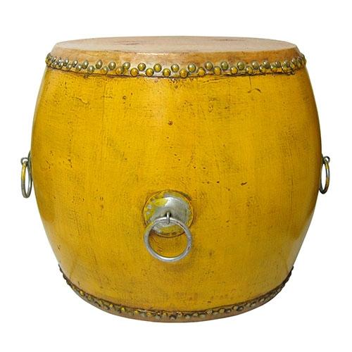 Banqueta Drum Lhasa Amarelo em Madeira - 50x50 cm