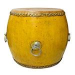 Banqueta Drum Lhasa Amarelo em Madeira