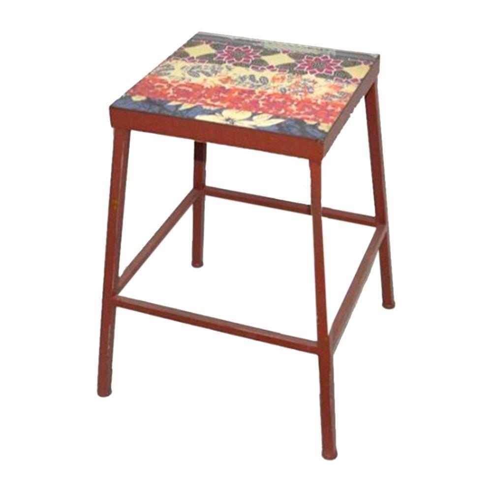 Banqueta Floral c/ Assento Estampado Vermelha em Ferro - 45x36 cm