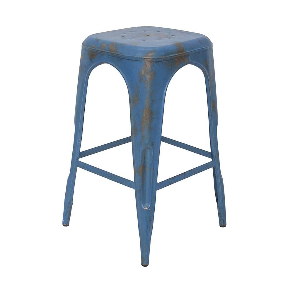 Banqueta Industrial Briane Azul Pátina em Ferro - 74x40 cm