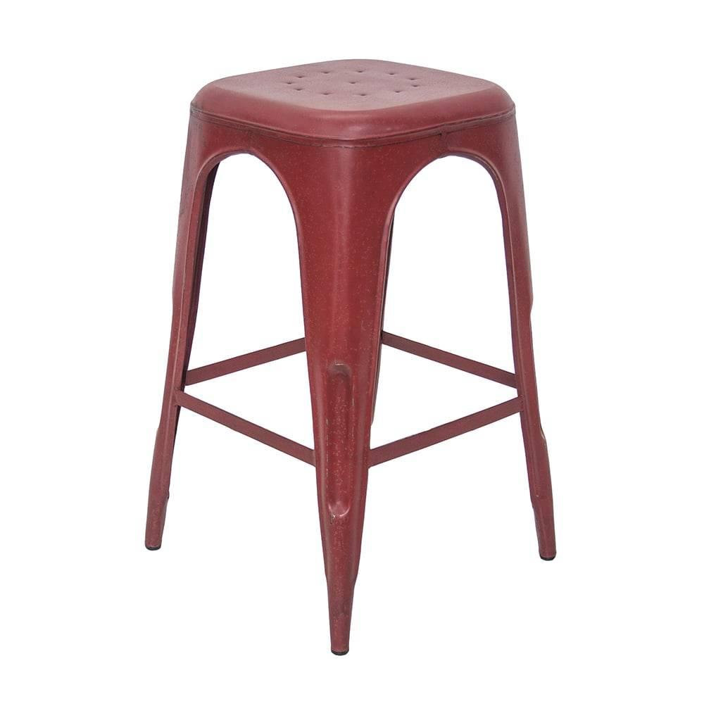 Banqueta Industrial Briane Vermelho Pátina em Ferro - 74x40 cm