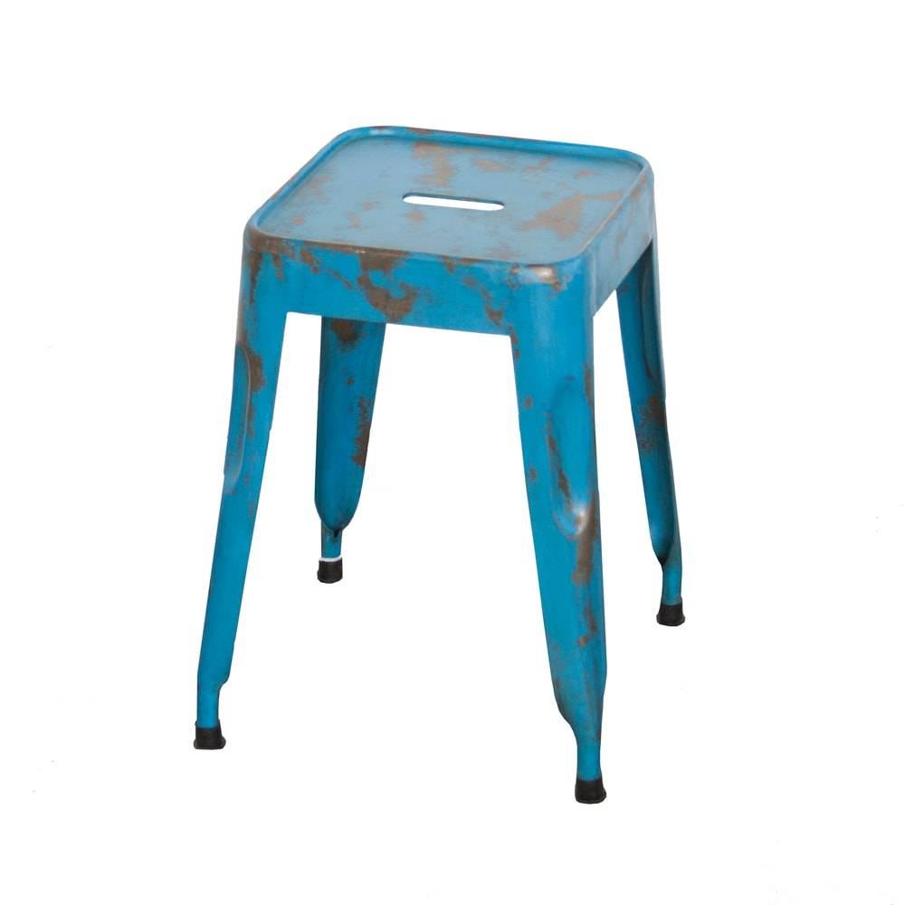 Banqueta Industrial Murici Azul Pátina em Ferro - 74x40 cm