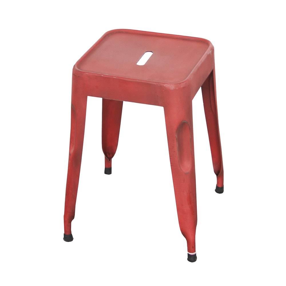 Banqueta Industrial Murici Vermelho Pátina em Ferro - 74x40 cm