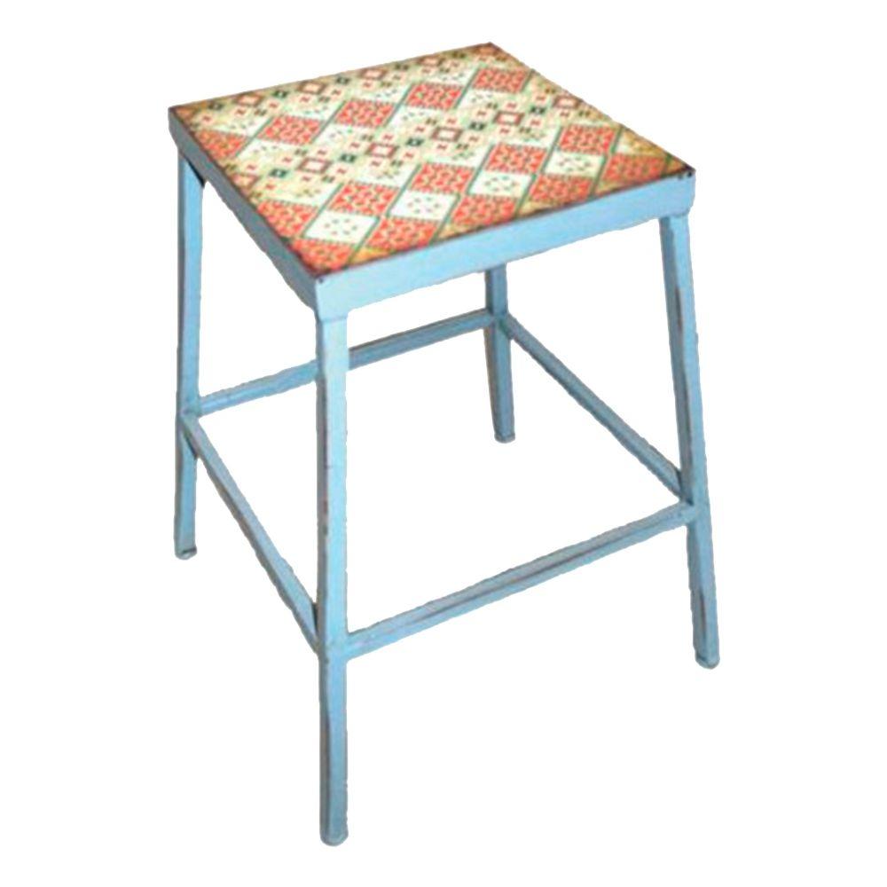 Banqueta Losangos c/ Assento Estampado Azul em Ferro - 45x36 cm