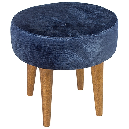 Banqueta Redonda Azul Chenille Pés Palito Baixo Clássico - 39x35 cm