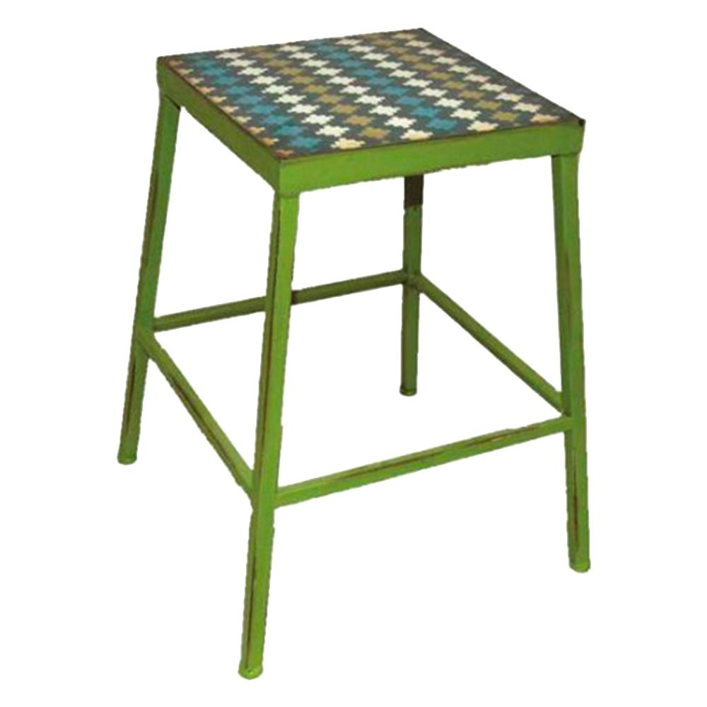 Banqueta Trapézio c/ Assento Estampado Verde em Ferro - 45x36 cm