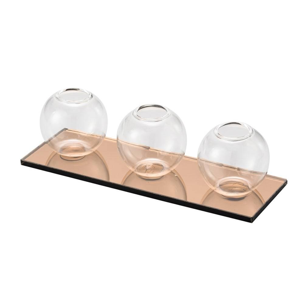 Base Espelhada com 3 Vasinhos em Vidro - Lyor Classic - 19x7 cm