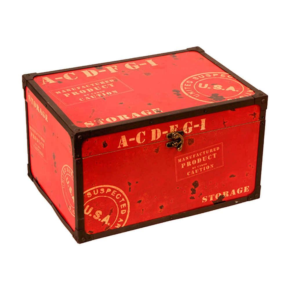 Baú Grande Storage Vermelho e Preto em Madeira e Metal - 42x29 cm