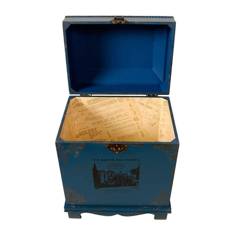 Baú Pequeno Antique Azul em Madeira com Detalhes em Metal - 47x37 cm