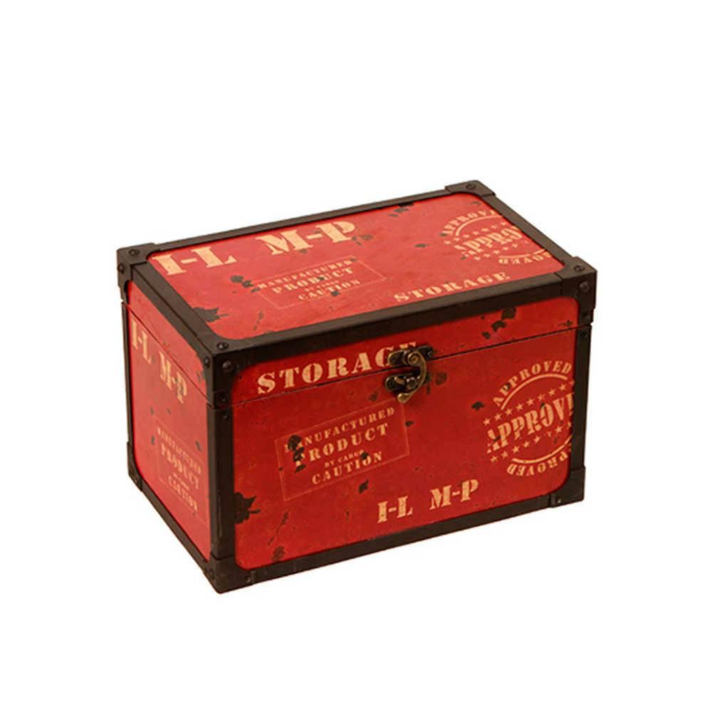 Baú Pequeno Storage Vermelho e Preto em Madeira e Metal - 32x20 cm