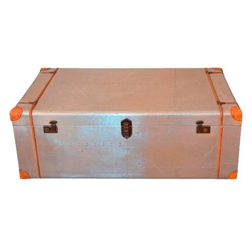 Bau Spectacle Prata e Laranja Grande em Metal - 120x70 cm