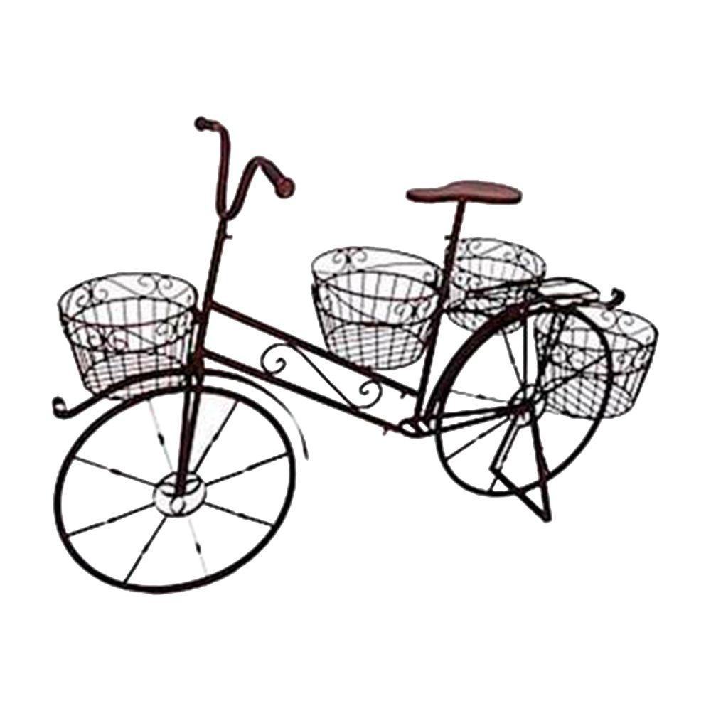 Bicicleta Decorativa para Jardim com 4 Cestos em Ferro - 115x86 cm