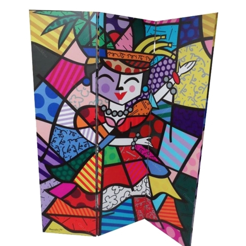 Biombo Carmen Miranda - Romero Britto - em Madeira - 180x140 cm
