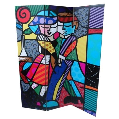 Biombo Cheek to Cheek - Romero Britto - em Madeira - 180x140 cm