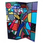 Biombo Cheek to Cheek - Romero Britto - em Madeira - 180x140 cm
