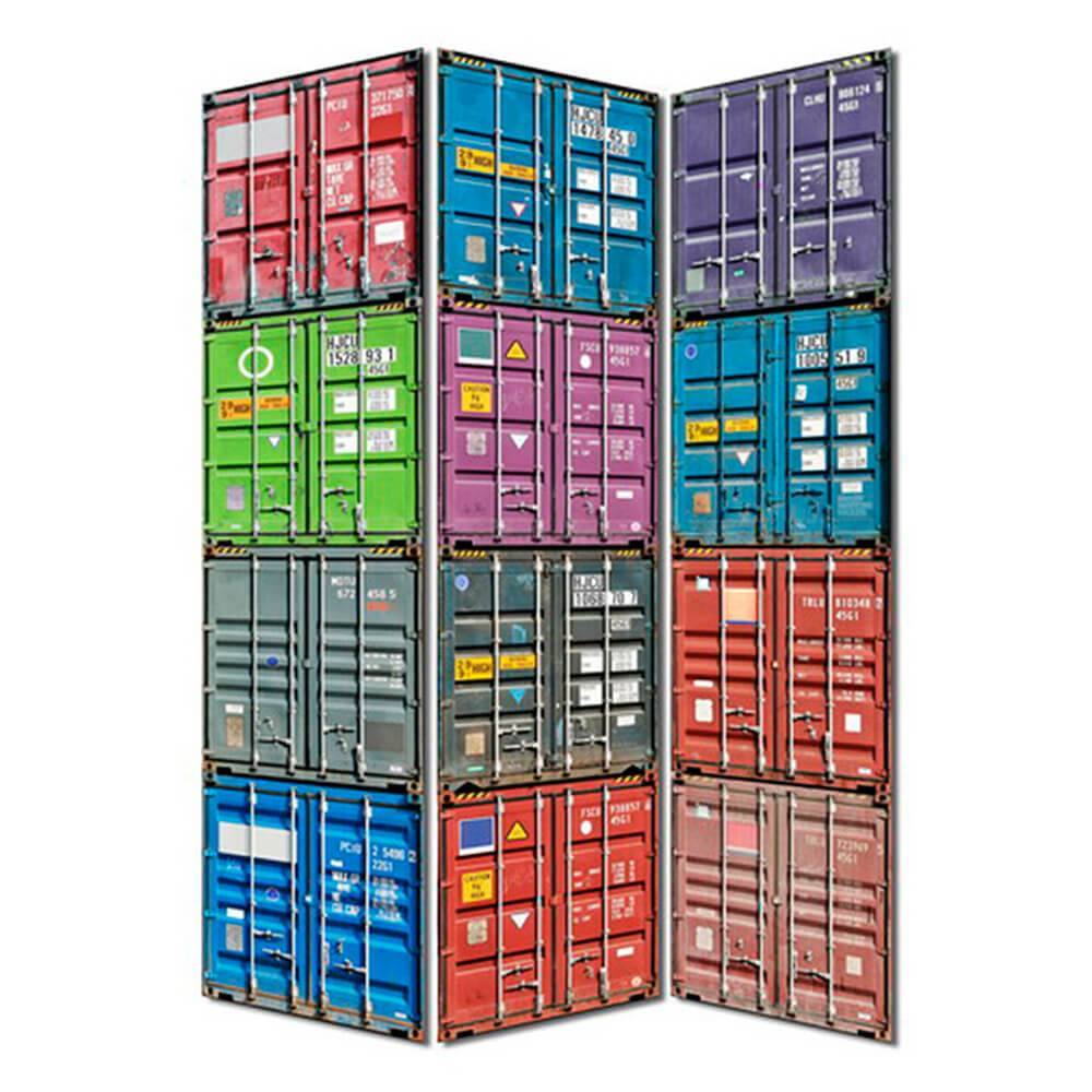 Biombo Containers Colorido em Madeira - Urban - 180x40 cm