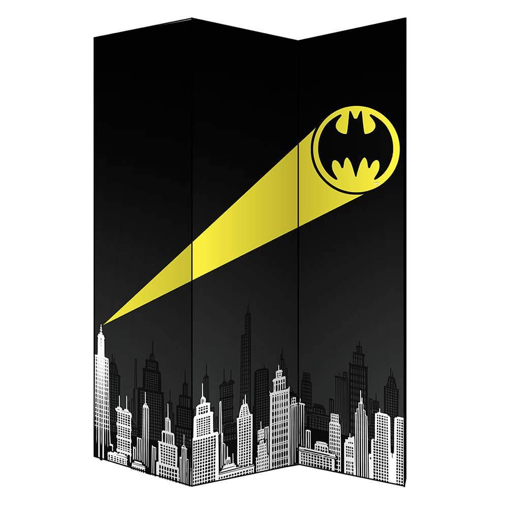 Biombo DC Comics Batman Call Preto em Madeira e Canvas - Urban - 180x40 cm