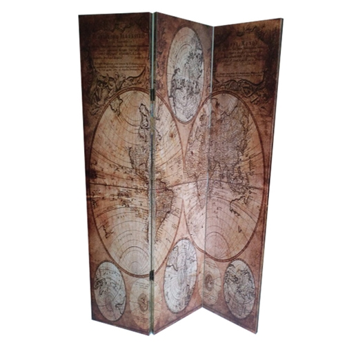 Biombo Decorativa Map II em Madeira - 180x121 cm