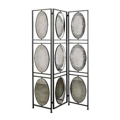 Biombo com Espelho em Metal - 190x120 cm