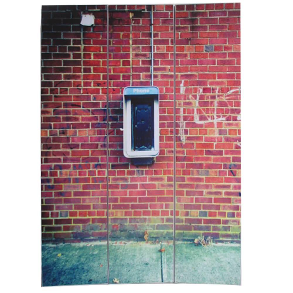 Biombo Little Bricks Vermelho em Madeira - Urban - 180x40 cm