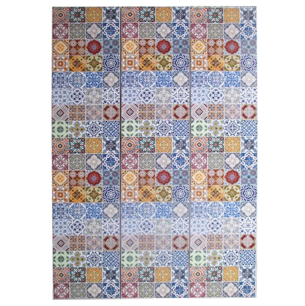 Biombo Portuguese Tiles Colorido em Madeira - Urban - 180x40 cm