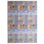 Biombo Portuguese Tiles Colorido em Madeira Urban 180x40 cm