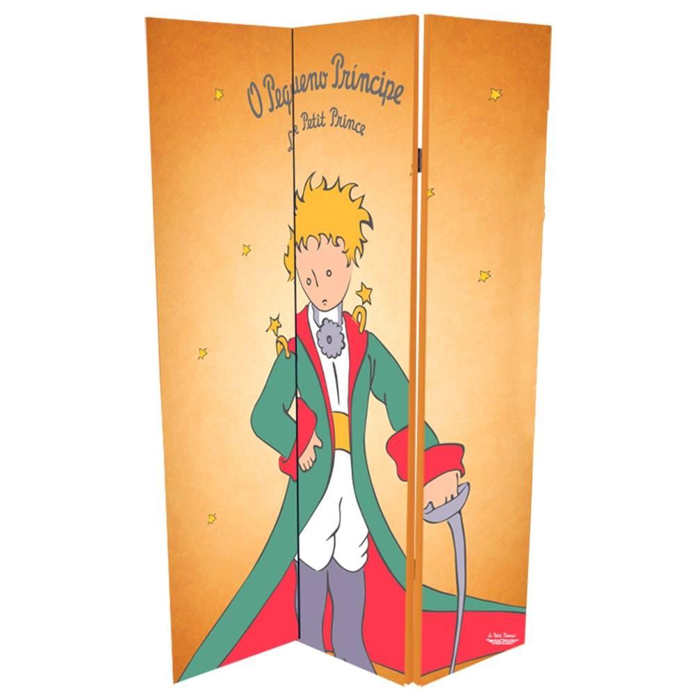 Biombo Vintage O Pequeno Príncipe Bege em Canvas - 180x120 cm