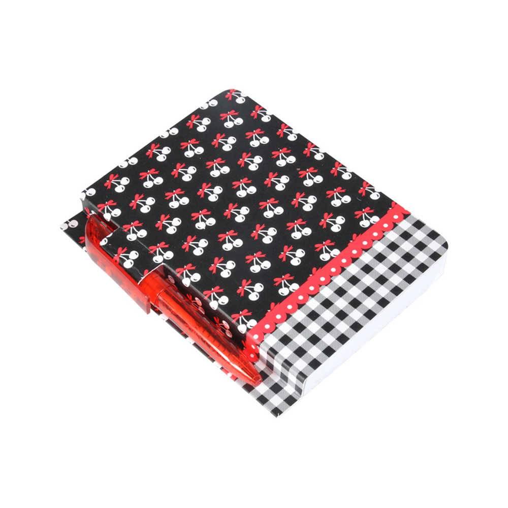 Bloco de Anotações Cherries Borda Xadrez com 100 Folhas e Mini Caneta - Urban - 27x26 cm