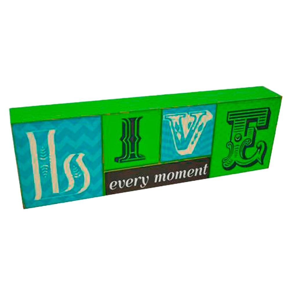 Bloco Live Every Moment Verde e Azul em Madeira - 35,5x11,5 cm