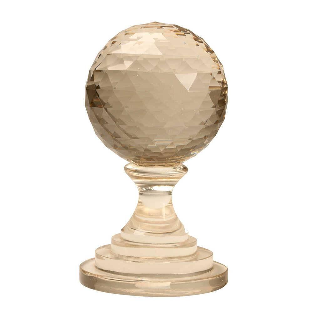 Bola Decorativa com Base Transparente em Vidro - 29x17 cm