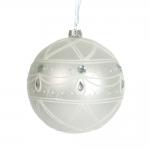 Bola Decorativa de Natal Branca em Vidro - 12x12 cm