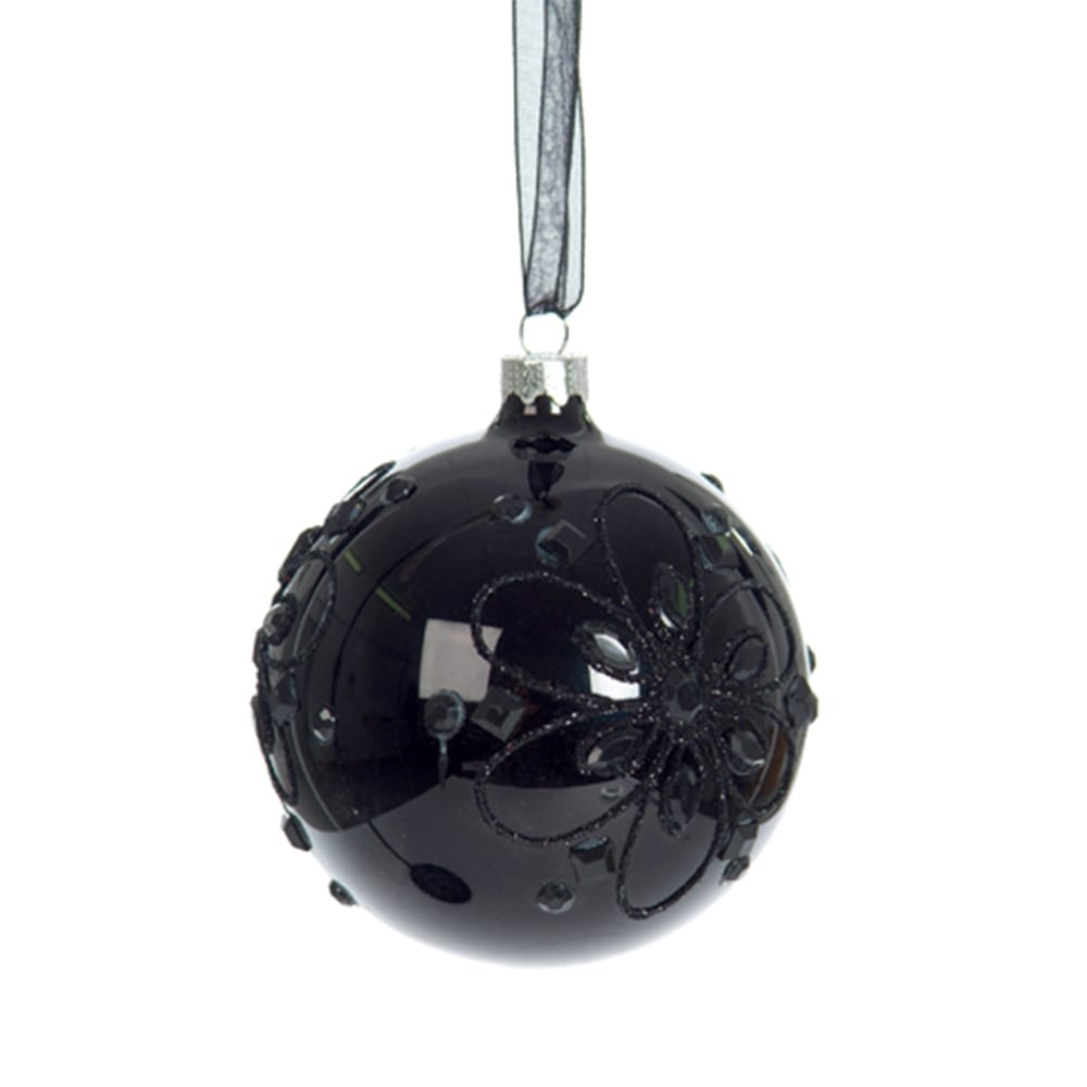 Bola Decorativa de Natal Stones Preto em Vidro - 8x8 cm