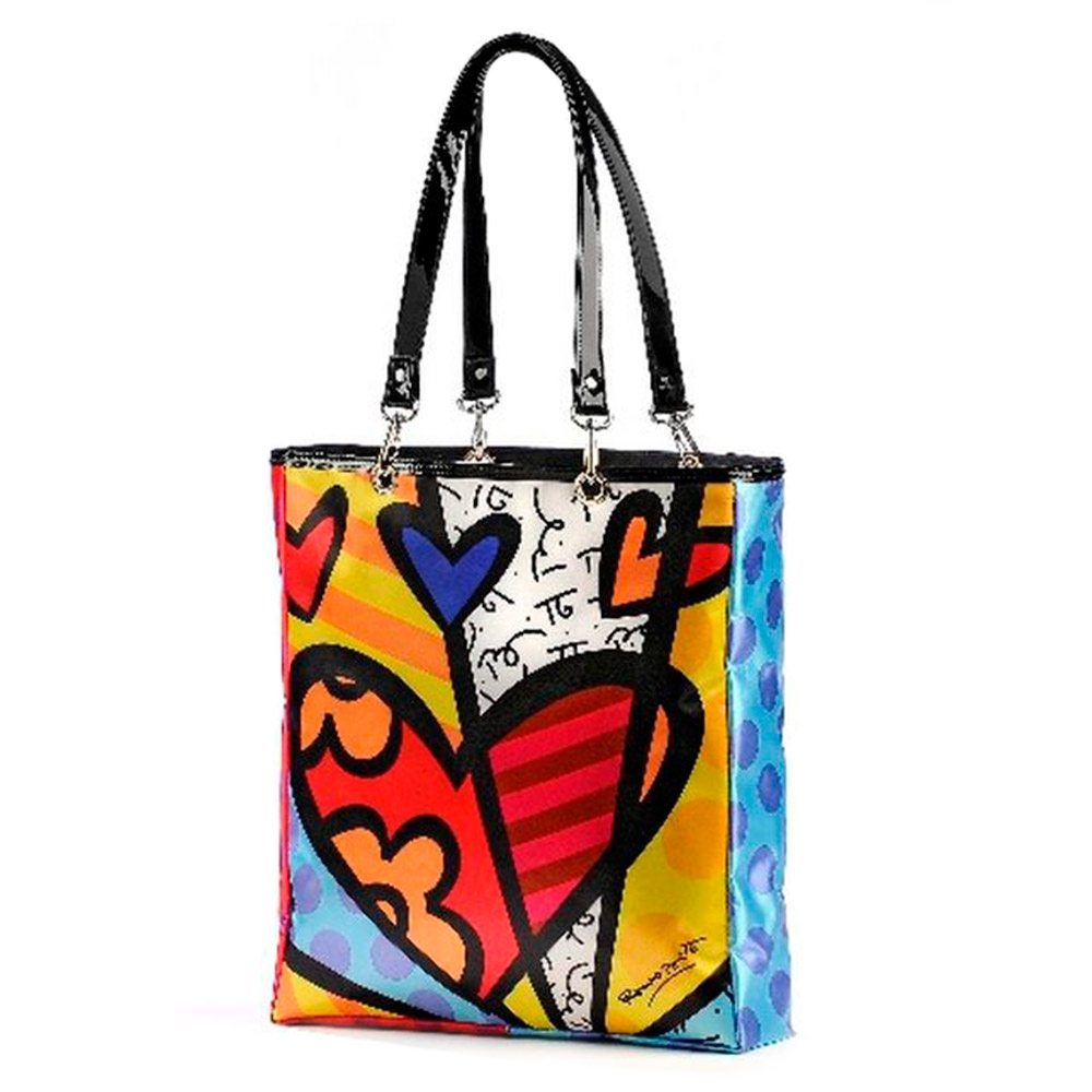 Bolsa New Day - Romero Britto - em Cetim - 34x32 cm