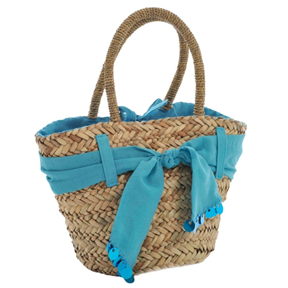 Bolsa Azul com Acabamento de Tecido - com Alça - em Fibra - 25x20 cm