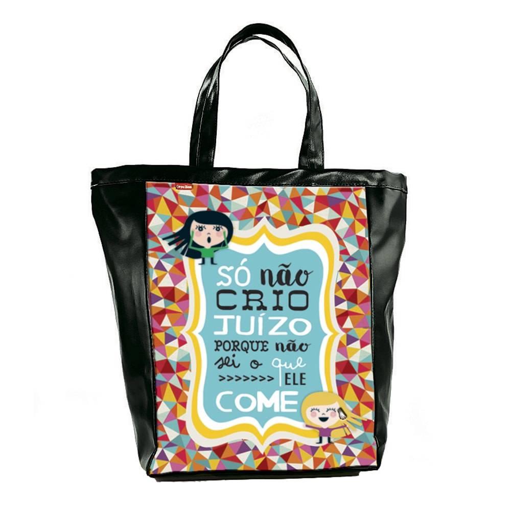 Bolsa Book Bag Humores de Maria - Carpe Diem - em Couro Sintético - 48x35 cm