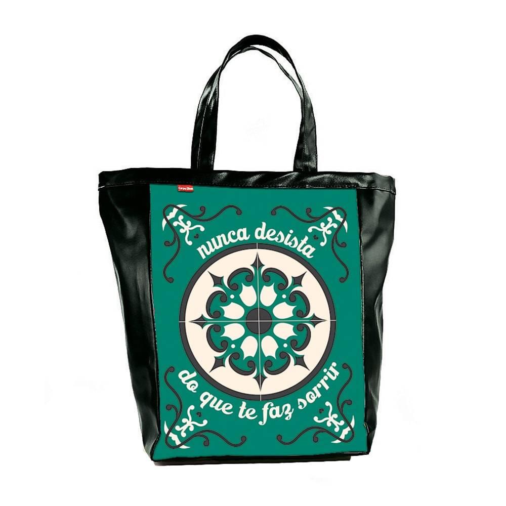 Bolsa Book Bag Ladrilhos - Carpe Diem - em Couro Sintético - 48x35 cm