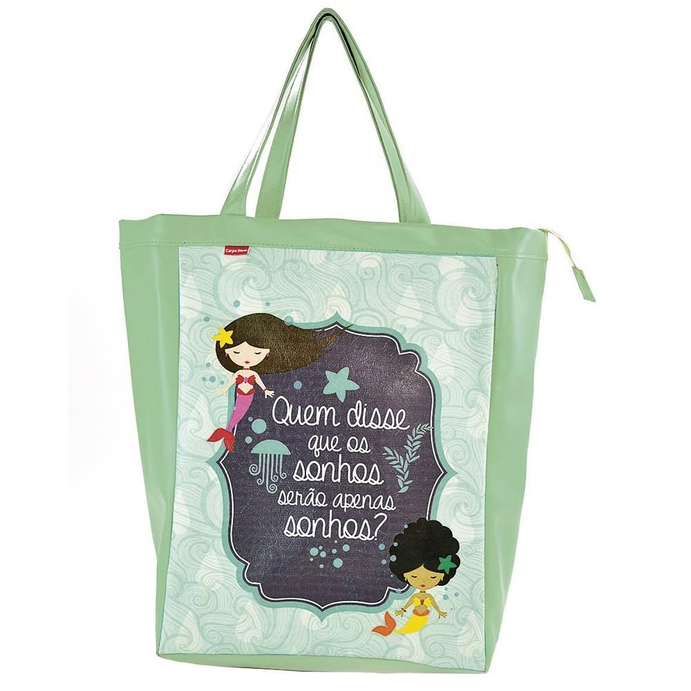 Bolsa Book Bag Lenda das Sereias - Carpe Diem - em Couro Sintético - 48x35 cm